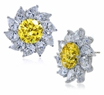 Cambridge 3 Carat Canary Round Cubic Zirconia Pear Cluster Earrings