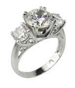 Camelot Three Stone 2 Carat Round Cubic Zirconia Antique Anniversary Ring