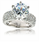 Camila 4 Carat Round Cubic Zirconia Pave Solitaire Engagement Ring