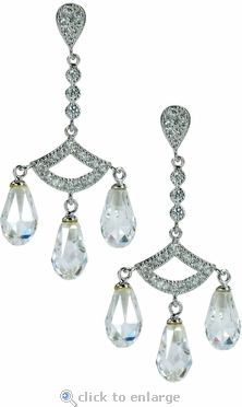 Camille Antique Chandelier Briolette Cubic Zirconia Drop Earrings
