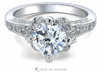 Campeau Round Micro Pave Antique Estate Style Cubic Zirconia Solitaire Ring