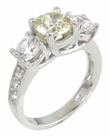 Campion 1 Carat Round Center Canary Cubic Zirconia Three Stone Solitaire Engagement Ring