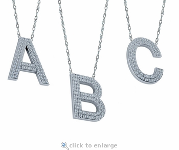 Capital Letter Initial Pave Cubic Zirconia Necklace