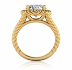 Captina 3.5 Carat Round Cubic Zirconia Twisted Rope Halo Split Shank Engagement Ring