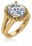 Captina 4 Carat Oval Cubic Zirconia Twisted Rope Halo Split Shank Engagement Ring