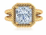 Captina 5.5 Carat Emerald Cut Cubic Zirconia Twisted Rope Halo Split Shank Engagement Ring