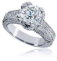 Captiva 2 Carat Round Cubic Zirconia Pave Estate Style Double Prong Milgrain Solitaire Engagement Ring