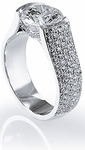 Carbra 3 Carat Round Semi Bezel Set Pave Cubic Zirconia Engagement Ring