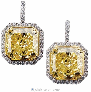Carissa 8.5 Carat Princess Cut Cubic Zirconia Pave Halo Drop Earrings