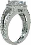 Carlton 2.5 Carat Oval Cubic Zirconia Pave Set Halo Split Shank Engagement Ring