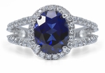 Carlton 2.5 Carat Oval Lab Created Sapphire Pave Set Halo Split Shank Engagement Ring in 14K White Gold