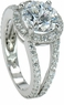 Carlton 2.5 Carat Round Cubic Zirconia Pave Set Halo Split Shank Engagement Ring