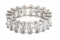 Carlysle Shared Prong Set Radiant Emerald Cut Cubic Zirconia Eternity Band