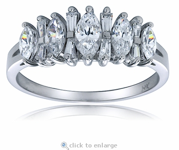 Caron Marquise Cubic Zirconia Tapered Baguette Band