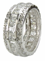 Cartouche Channel Set Princess Cut Pave Round Cubic Zirconia Eternity Band