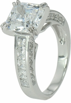 Caserta Split Prong 2.5 Carat Asscher Cut Cubic Zirconia Cathedral Princess Cut Solitaire Engagement Ring