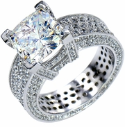 Casina Royale 4 Carat Cushion Cut Cubic Zirconia Micro Pave Set Eternity Solitaire