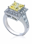 Cassini Princess Cut Canary Cubic Zirconia Halo Solitaire Engagement Ring