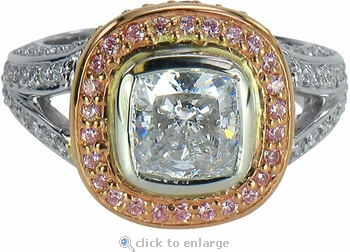 Cassius Bezel Set 2.5 Carat Cushion Cut Cubic Zirconia Two Tone Pave Halo Ring