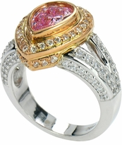 Cassius Two Tone 2 Carat Bezel Set Pear Cubic Zirconia Pave Halo Ring