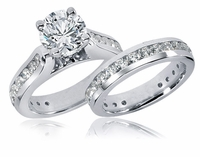 Castalia 2 Carat Round Cubic Zirconia Cathedral Channel Set Wedding Set
