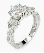 Catalonia 1.5 Carat Round Cubic Zirconia Engraved Baguette Solitaire Engagement Ring