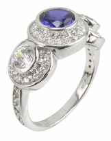 Cavalier 1 Carat Round Bezel Set Center Three Stone Cubic Zirconia Halo Pave Solitaire Engagement Ring