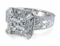 Celeste 1 Carat Asscher Cut Cubic Zirconia Estate Style Solitaire Engagement Ring