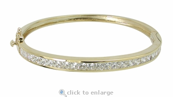 Celine Channel Set Princess Cut Cubic Zirconia Bangle Bracelet