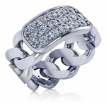 Celline Pave Set Round Cubic Zirconia Cuban Curb Chain Link Ring