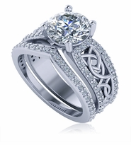 Celtic Knot 2 Carat Round Pave Solitaire Matching Band Wedding Set