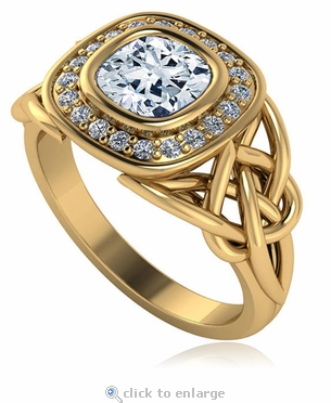 Celtic Love Knot 1 Carat Cushion Cut Square Bezel Halo Cubic Zirconia Ring