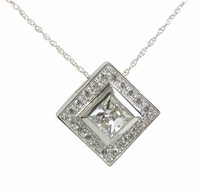 Centex Halo Bezel Set Princess Cut Cubic Zirconia Pave Set Square Pendant