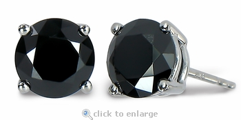 Centurion 1 Carat Each Black Diamond Look Cubic Zirconia Stud Earrings