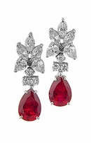 Chadella 5 Carat Pear Cubic Zirconia Cluster Drop Earrings