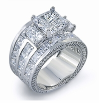 Champlain 4 Carat Cubic Zirconia Princess Cut Three Row Channel Set Engraved Wide Band