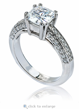 Chanelle 1.5 Carat Cushion Cut Cubic Zirconia Double Prong Cathedral Solitaire