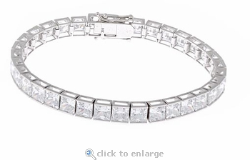 Channel Set .75 Carat Each Princess Cut Cubic Zirconia Tennis Bracelet