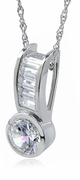 Channel Set Baguette and Bezel Set 1 Carat Round Cubic Zirconia Pendant