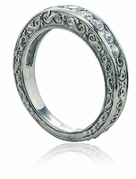 Channel Set Cubic Zirconia Round Engraved Estate Antique Anniversary Band