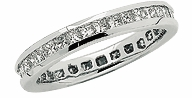 Channel Set Princess Cut Cubic Zirconia Eternity Band - SMALL