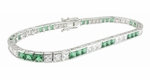 Channel Set Princess Cut Cubic Zirconia Tennis Bracelet with Alternating Stones