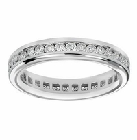 Channel Set Round Cubic Zirconia Eternity Wedding Bands