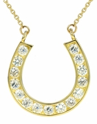 Channel Set Round Cubic Zirconia Horse Shoe Necklace