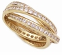 Channel Set Round Cubic Zirconia Rolling Ring Trinity Ring Russian Wedding Ring Eternity Band