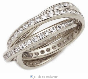 Channel Set Round Cubic Zirconia Rolling Ring Trinity Ring Russian Wedding Ring Eternity Band 14K White Gold Size 5