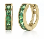 Channel Set Round Man Made Emerald Green Mini Huggie Hoop Earrings