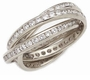 Channel Set Round Cubic Zirconia Rolling Ring Trinity Ring Russian Wedding Ring Eternity Band 14K White Gold Size 8