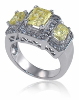 Chantal Three Stone Radiant Emerald Cut Canary Diamond Look Cubic Zirconia Pave Halo Estate Style Ring