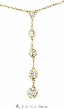 Charleston Bezel Set Round Cubic Zirconia Drop Necklace